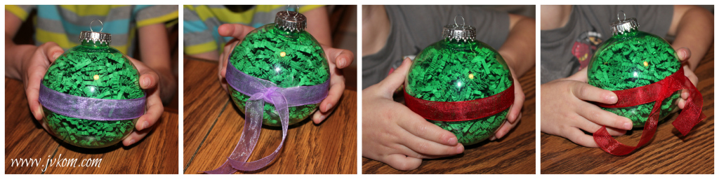 Ninja Turtle Ornaments attaching the ribbons.